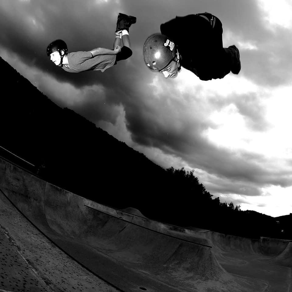 sam jackenthal and jason stinsmen rollerblading together